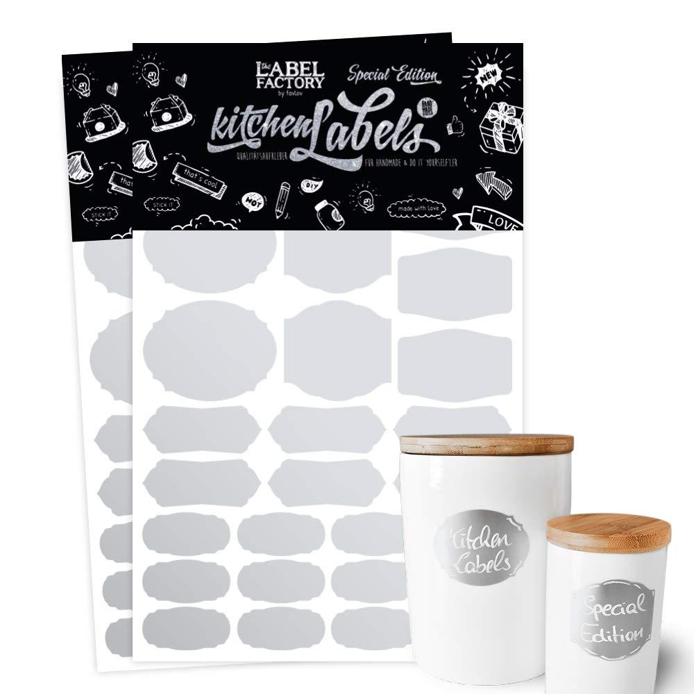 K/üchen-Etiketten SILBER the Label Factory by favlov /· 56 Kitchen Labels f/ür Gew/ürzgl/äser Eingemachtes Geschenke Spielzeugkisten /& Marmeladen Kreide-Tafel Folie zum Beschriften