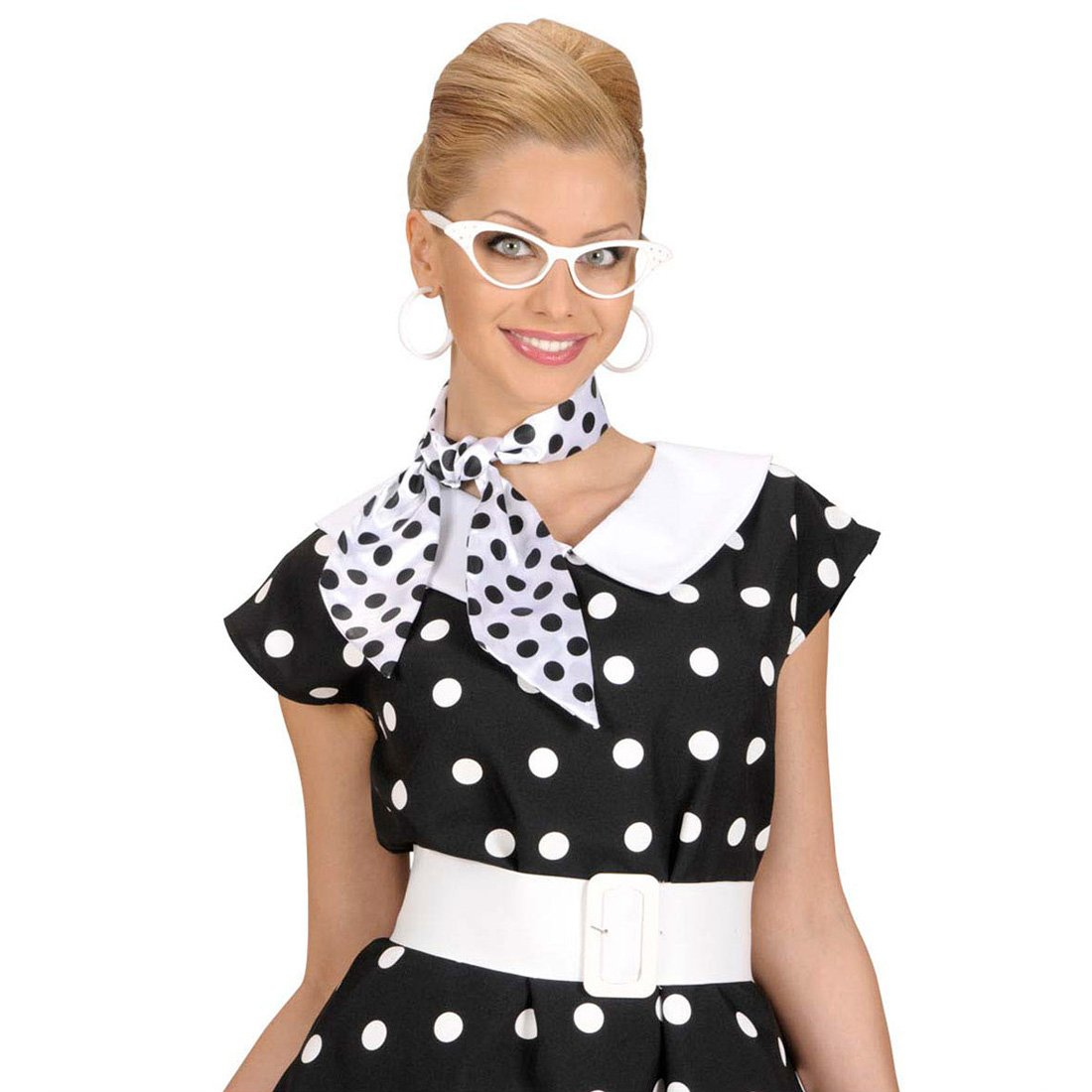Amakando 50er Jahre Halstuch Pünktchen Haar Tuch schwarz-weiß gepunktet Retro Satintuch Polka Dots Satin Schal Rockabilly Punkte Haartuch Mottoparty Accessoire