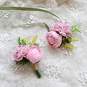Florashop Satin Carnations Peony Bud Corsage and Boutonniere Pack Wedding Bridal Bridesmaid Wrist Corsage Band Men's Groom Bridegroom Boutonniere for Wedding Prom Party Homecoming 89