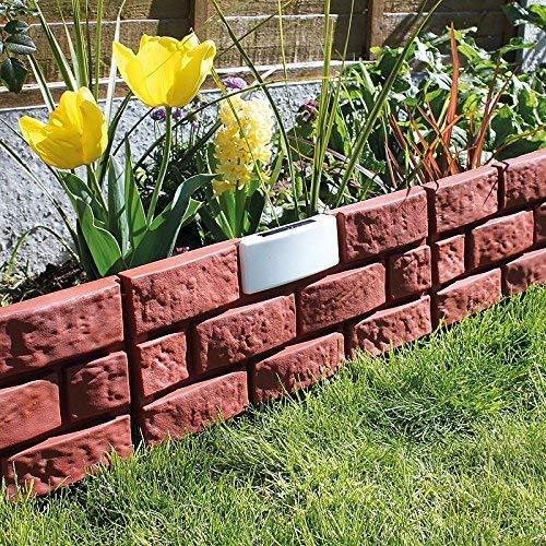 Terra Cotta Solar Lighted Brick Look Garden Border