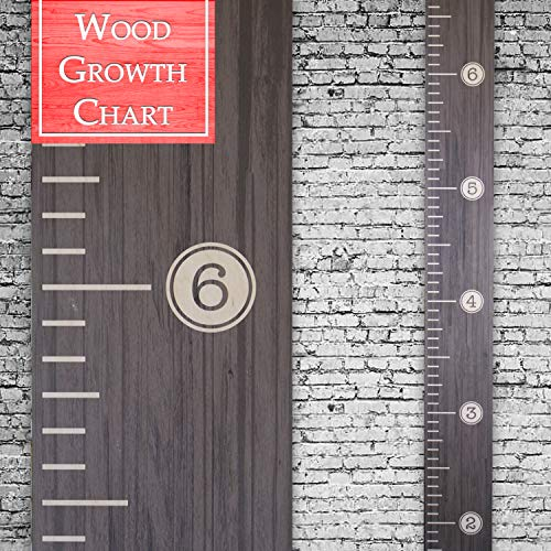 (Back40Life   Premium Series - (Distressed Typewriter) Wooden Growth Chart Height Ruler (Ebony Wash))