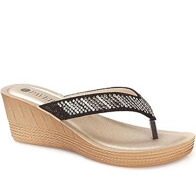e7a030270c07 Pavers Wedge Toe Post 307 836 - Black Size 12 (45)  Amazon.co.uk ...