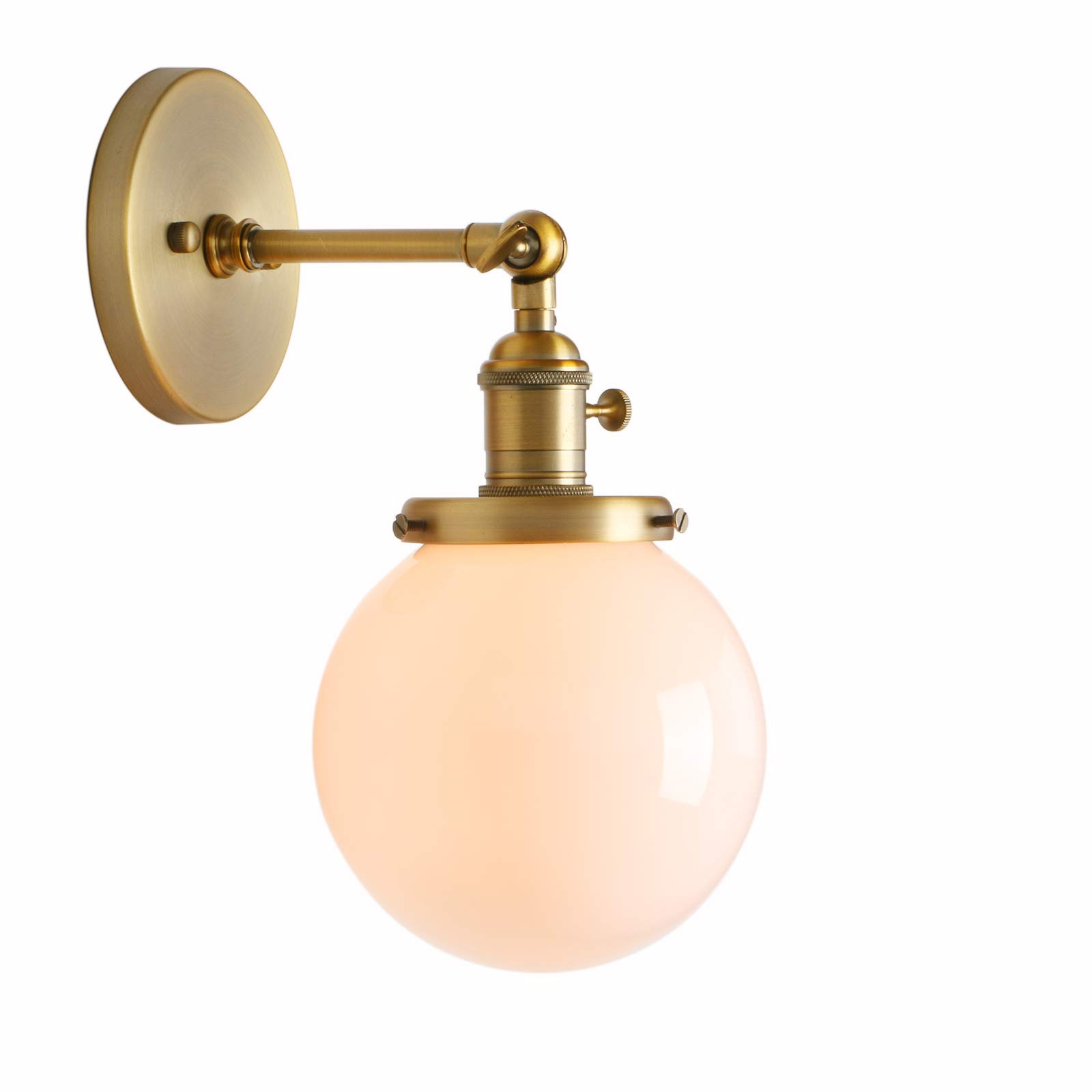 Permo Vintage Industrial Wall Sconce Lighting Fixture with Mini 5.9'' Round Globe Milk White Glass Hand Blown Shade (Anqitue)