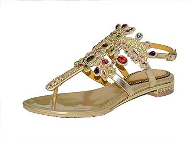 Doris Women's Evening Wedding Dress Shoes Glitter Rhinestone Floral Flip-Flops Sandals Summer Fashion Flat Slippers Gold 4 UK ecQ4DCI