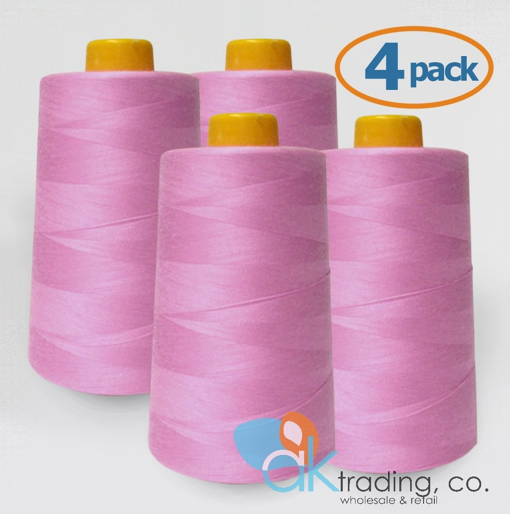 AK-Trading 4-Pack ROSE PINK Serger Cone Thread (6000 yards each) of Polyester thread for Sewing, Quilting, Serger AK TRADING CO.