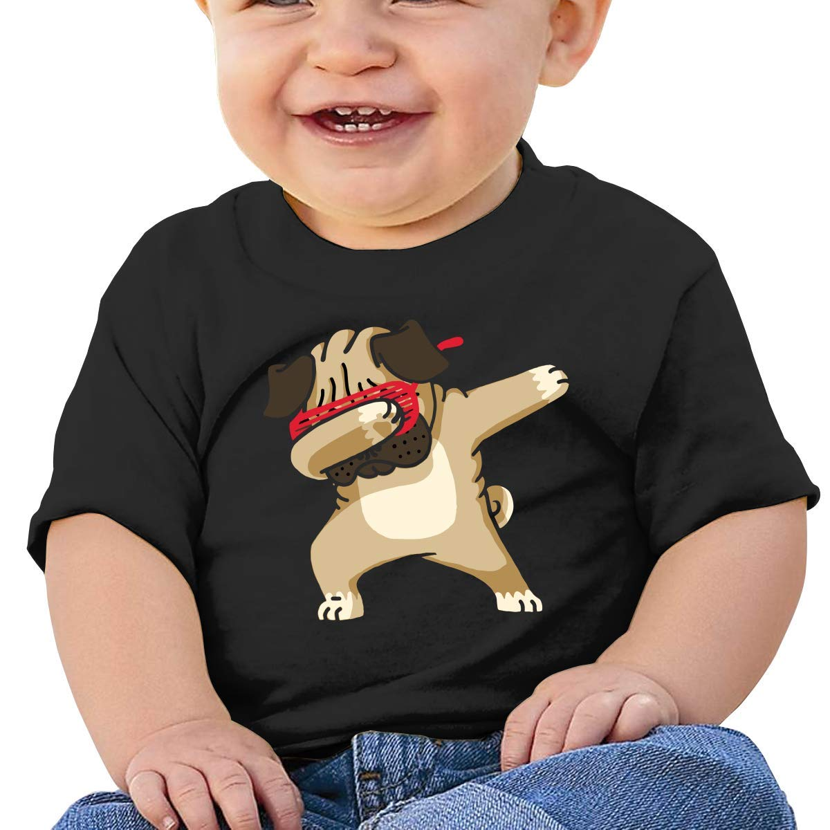 STARKLY Dabbing Pug Hip Hop Boy Girl Newborn Short Sleeve Tee Shirt 6-24 Month 5 Tops