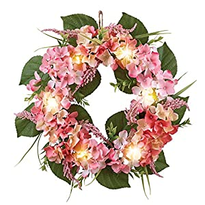 """Collections Etc Rose Cream Hydrangea Floral Spring Summer Front Door Wreath with Lights, 16"""" 4"""