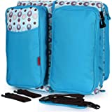 Doyle Essentials Baby Travel Bag and Bassinet - Portable Infant Bed, Changing Table or Bedside Crib with Mosquito Net, Stroller Strap - Travelling Nappy Bag for Camping - Best - Blue
