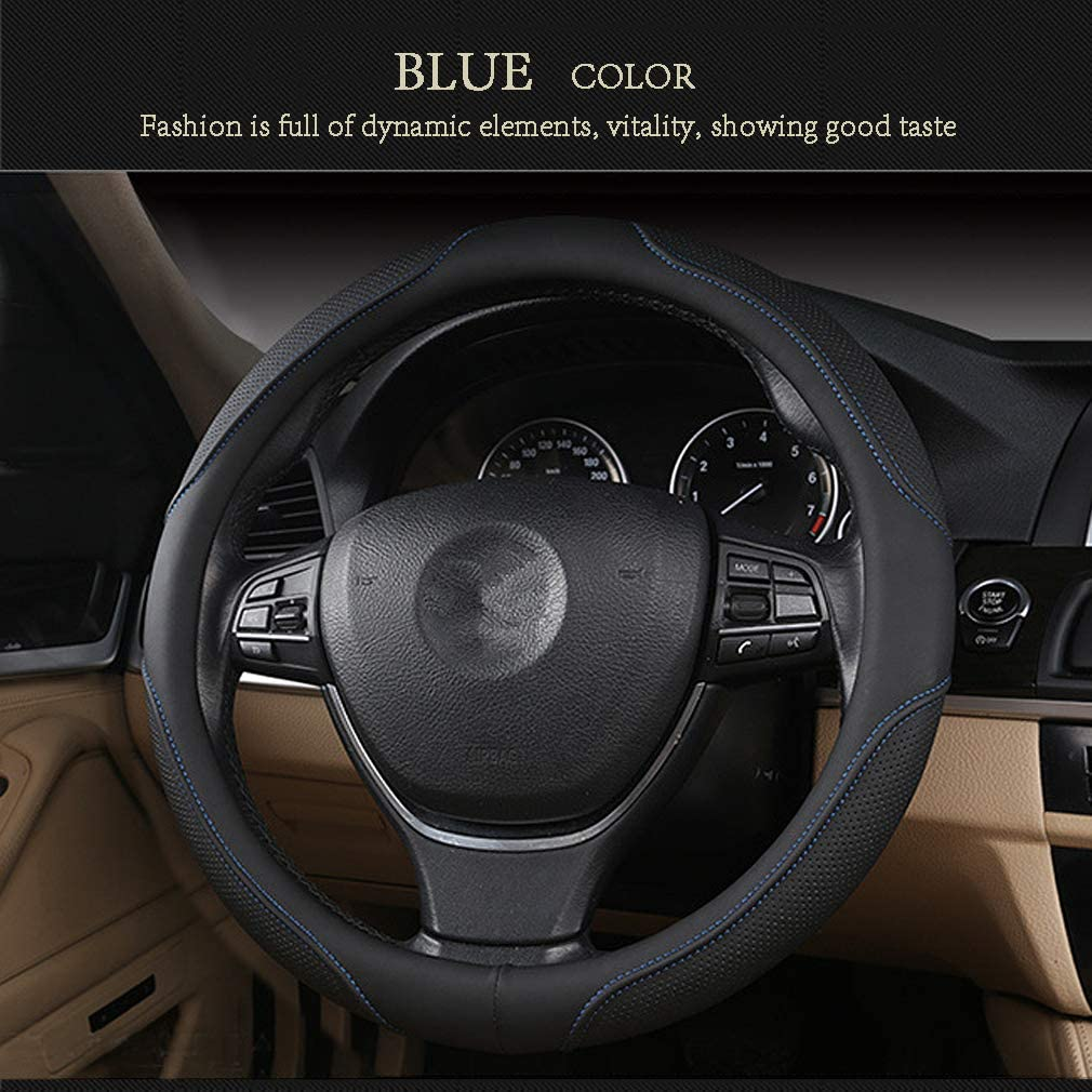 coofig Black Microfiber Leather Car Steering Wheel Cover,Durable,Anti-Slip,Snug Grip,Fit Most Car,Cool in Summer Universal Standard Size 14.5 15 15.5 Inches