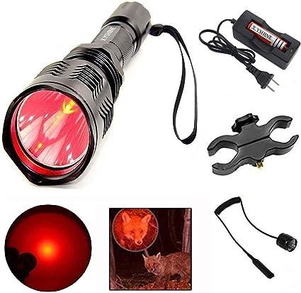 1 X Q5 LED 300M Flashlight Hunting Red Blue Green Light UV Torch Light Lithium