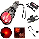 X.YSINE LED Hunting Flashlight, HS-802 250 Yards Cree Q5 Coyote Hog Red Light Flashlight with Remote Tactical Pressure…