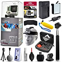 GoPro Hero 4 HERO4 Silver CHDHY-401 with 64GB Ultra Memory + Premium Case + Extra Battery + Travel Charger + Selfie Stick + Head Strap + Floaty Bobber + MicroSD Card Reader + Cleaning Kit + More