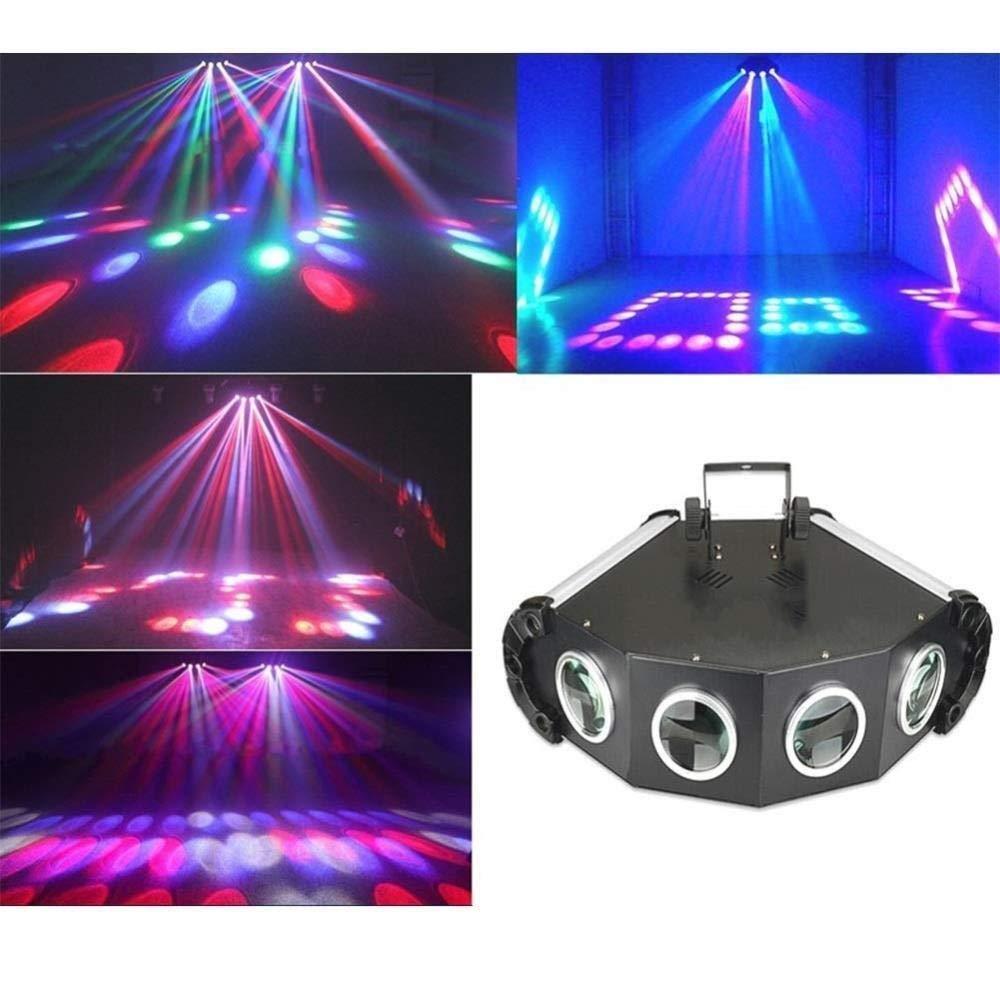 HDZWW Sound Activated Party Lights Dj Lighting,RBG Disco Ball,DMX512 Stage Light Mini Spider Lights Home Room Dance Parties Birthday Dj Bar Karaoke Xmas Wedding Show Club Pub
