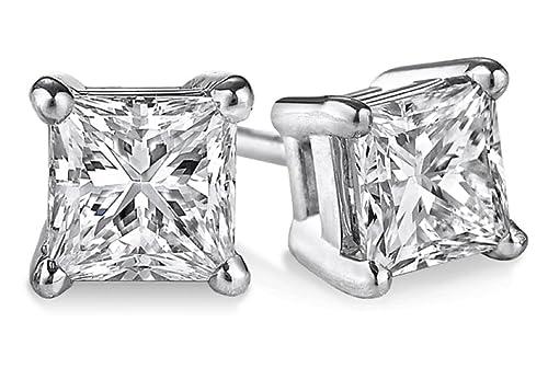 PARIKHS Princess Cut Diamond Stud Popular Quality in 14K White Gold 0.04 ctw, I2 clarity