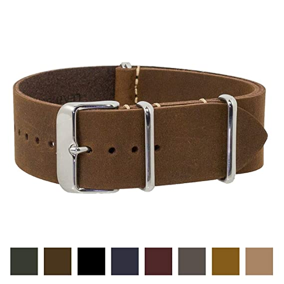 641f78623fb Benchmark Straps 22mm Dark Brown Oiled Leather NATO Watchband (More Colors  Available)
