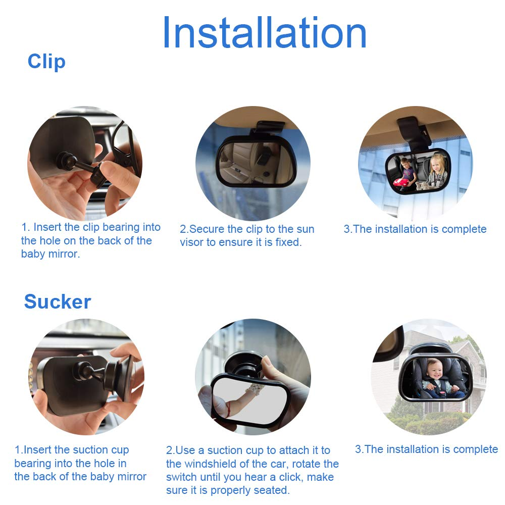 9 * 5.5cm Anti-breaking Acrylic Baby Kids Monitor for Car Rear Luoistu Baby Car Mirror with Sucker and Clip Observation Mirror to View Baby or Kids in Child seat