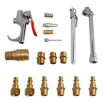 BQLZR - Kit de herramientas de latón para compresor de aire de cobre para acoplamiento de portabrocas para limpieza neumática, 17 unidades: Amazon.es: Coche ...