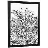 JP London FCNV2232 Framed Gallery Wrap Heavyweight Black White Tree Branches Ravens Canvas Wall Art, 26.375