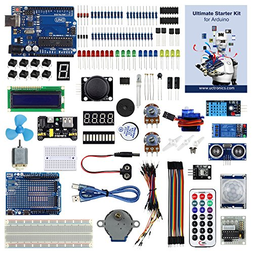 UCTRONICS Advanced Starter Kit for Arduino with Instruction Booklet, UNO R3, UNO R3 Proto Shied V3,Relay, Breadboard power supply, SG90 9g Servo, Remote Controller and IR Receiver (Starter Remote Yourself)