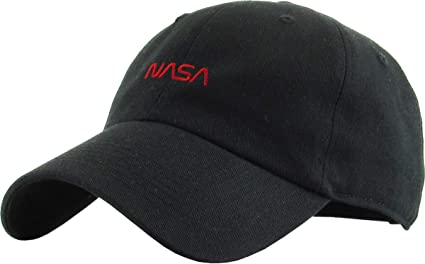 227e71e8cbc4f2 Amazon.com: KBSV-145 BLK NASA Dad Hat Embroidered Cotton Baseball ...