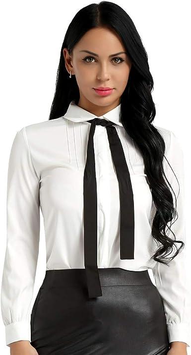 inlzdz Mujer Blusa para Primavera Otoño Camiseta Manga Larga Meñeca Cuello con Corbada Top Blusa Slim Fit Elegante Camisa Blanca para Escuela Oficina: Amazon.es: Ropa y accesorios
