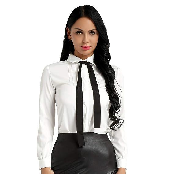 3316bab86 inlzdz Mujer Blusa para Primavera Otoño Camiseta Manga Larga Meñeca Cuello  con Corbada Top Blusa Slim Fit Elegante Camisa Blanca para Escuela Oficina:  ...
