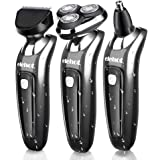 Elehot 3 in 1 Electric Shaver Wet & Dry Rotary Floating Heads Waterproof Razor with Nose Trimmer and Sideburns Cutter … (grey)