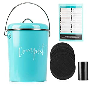 Compost Bin for Kitchen Counter: Stainless Steel Countertop Compost Container as 1.3 Gallon Indoor Compost Bucket or Counter Composter Pail with Lid, 50 Compost Bags and 6 Charcoal Filters, Turquoise