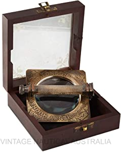 Magnifying Glass – Sherlock Holmes (Folding) Magnifying Glass, 10X Magnifier Antique Magnifying Glass for Reading, Inspection, Observing Insects, Rocks, Map (Antique Brass Finish)