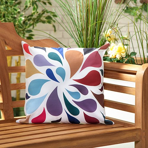 Droplets Multicolour Water Resistant Outdoor Scatter Garden Filled Cushion Printed 18 Gardenista