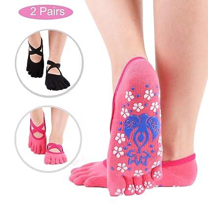 JJunLiM Calcetines de Yoga para Mujer, Antideslizantes, Antideslizantes, para Baile, Ballet, Cinco Dedos de los pies, Calcetines Antideslizantes, ...