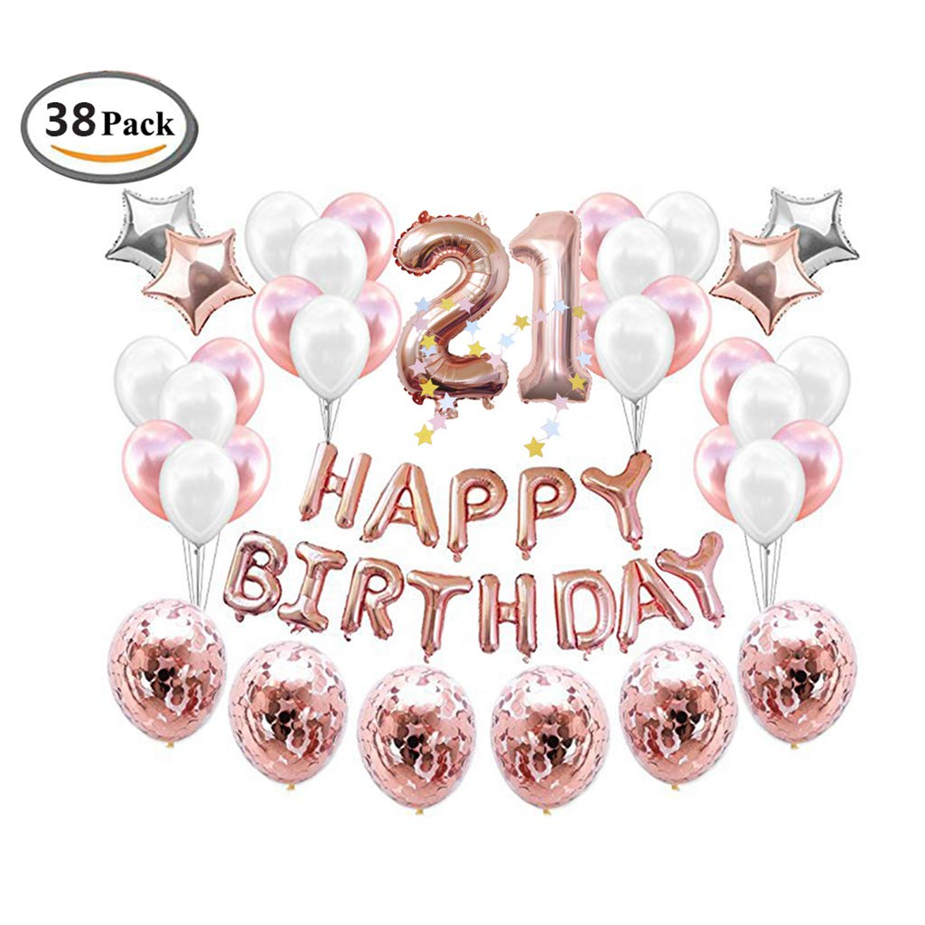 21st Birthday Rose Gold Balloons Decorations Set, ICheap Happy Birthday Banner 12'' Rose Gold Balloons and Stars Foil Balloons,40'' Number 21 for Adults Kids Girls Boys Party Supplies