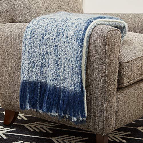 Rivet Super Soft Oversized Ombre Stripe Brushed Weave Throw Blanket, 60