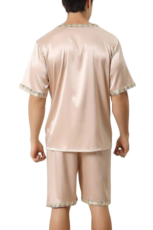 b6e6cd2f52 Men s Pajamas Pajamas Satin Short Two Pajamas Young Fashion Piece Summer Mens  Pajamas with Short Bottoms V Neck with Pocket  Amazon.co.uk  Clothing