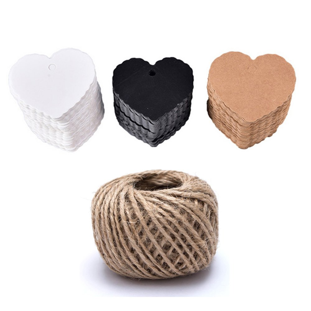 EOPER 300 Pieces Heart Wave Shaped Kraft Paper Gift Tags with Free 30m/ 98.4ft Natural Hemp Rope for Wedding Party Note DIY Blank Hang tag