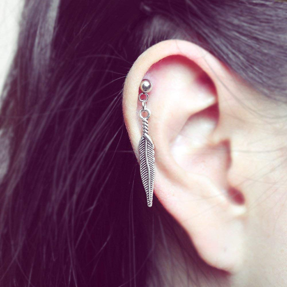 f0fb50603ce5c Amazon.com: Feather dangle cartilage earring, helix earring, 20g 16g ...