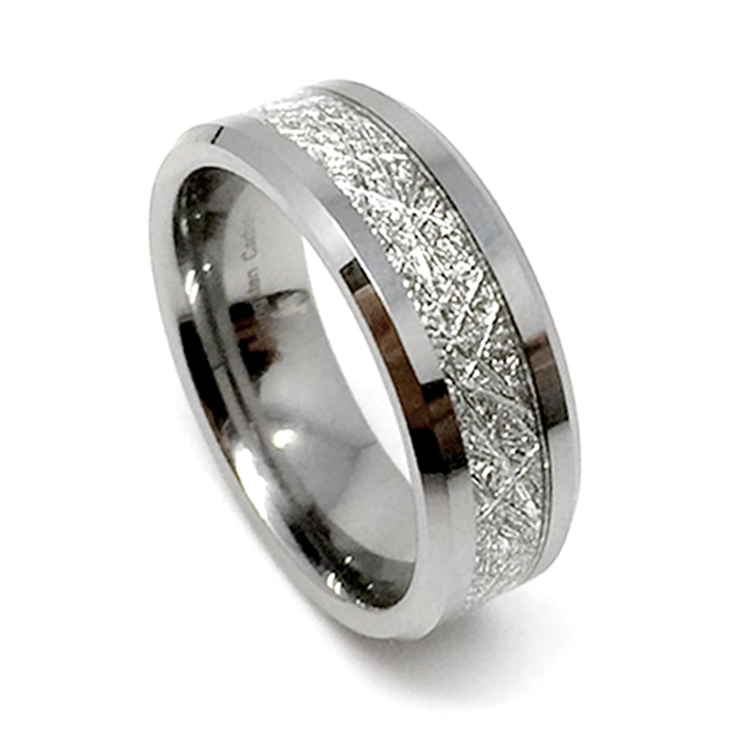 8mm tungsten carbide meteorite mens wedding band ringamazoncom - Meteorite Wedding Ring