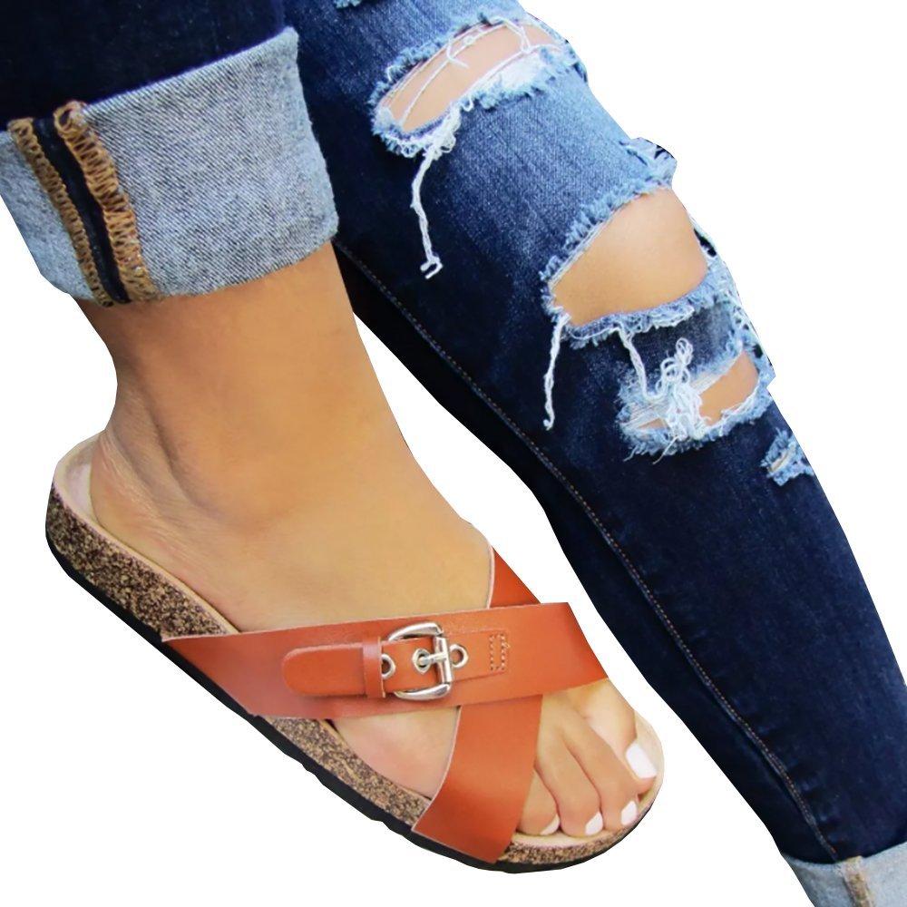 Mafulus Womens Summer Open Toe Flatfrom Leather Sandals Crisscross Strap Adjustable Buckle Casual Sandalias B07FFN9RXR 5 B(M) US|Brown