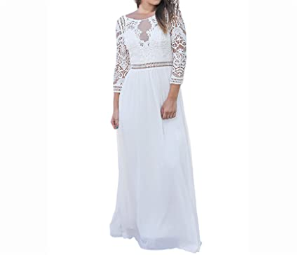 Ivan Johns Dresses Elegant White Lace Crochet Maxi Dress Women Chiffon Party Dresses Quarter Sleeve Ladies