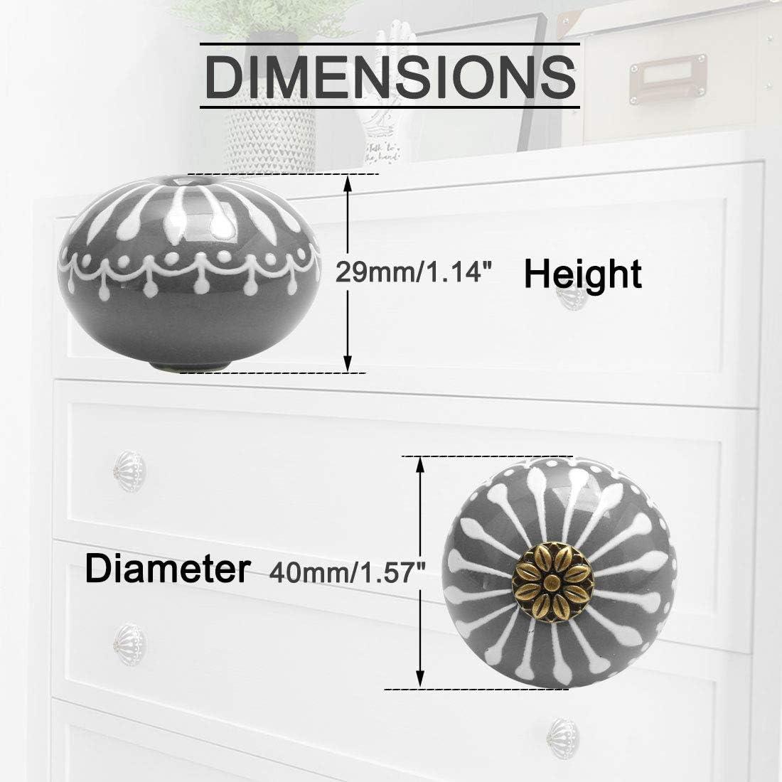 gris placard commode Maikehome Boutons de tiroir ronds en c/éramique vintage pour tiroir armoire