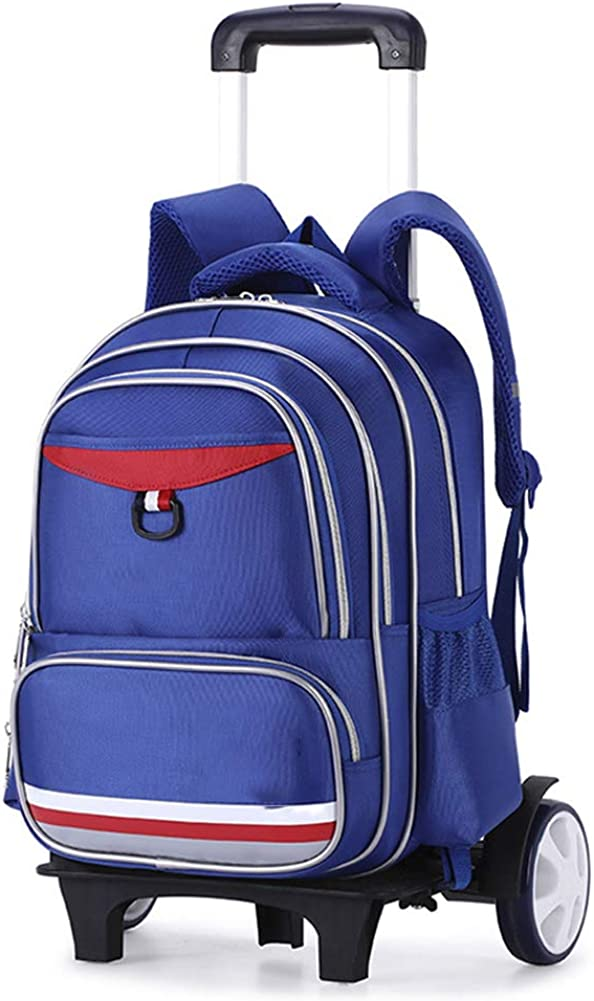 Mochila escolar con ruedas para estudiantes de primaria, tres ruedas Mochila para subir escaleras con ruedas, mochila impermeable ligera desmontable, 31 * 16 * 42 cm