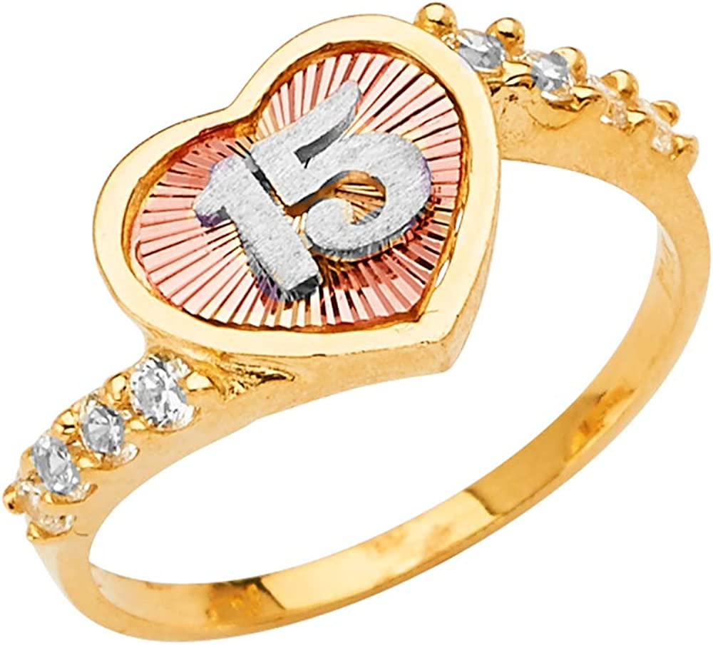 14K Solid Tri Color Gold Sweet 15 Anos 15 Years Birthday Quinceanera/CZ Heart Cut Ring Ioka