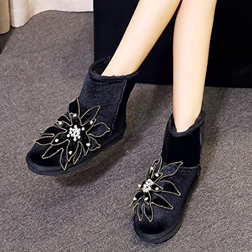 women round 's snow 90 boots beaded suede boots NSXZ cotton flowers Winter 160cm warm Bw1qZE6cfg