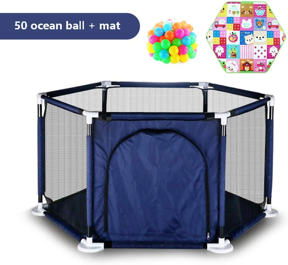 WXLL playpen Hexagon Panels Fence Foldable Game Fence Activity Center Fence Safety Fence Home Indoor and Outdoor Floor Protection Amusement Park with Zipper Door Lock Color : Blue
