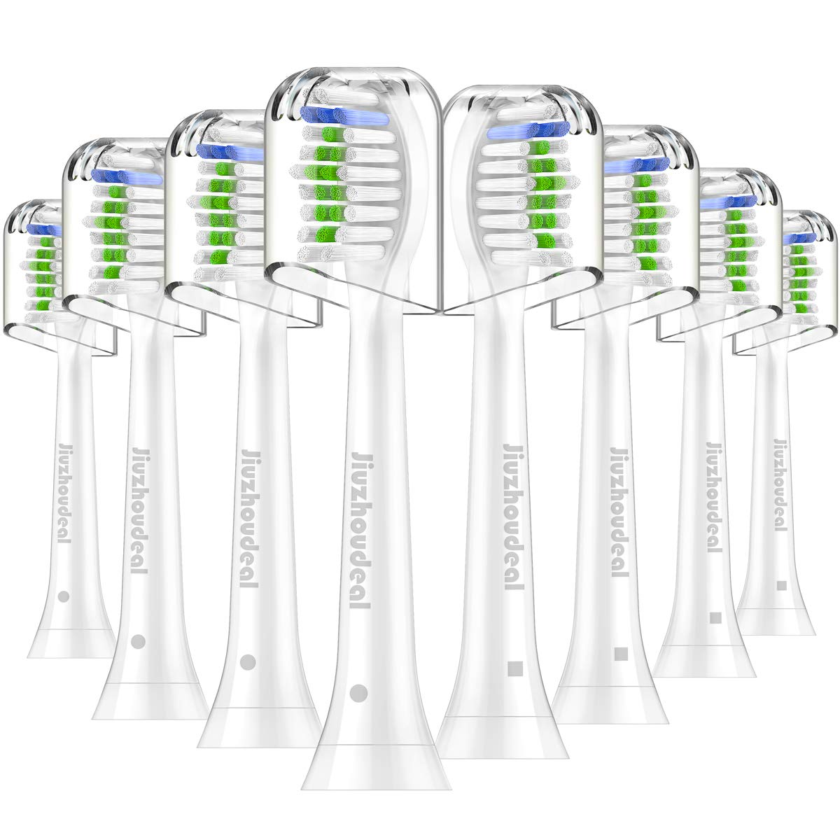Replacement Brush Heads Compatible with Phillips Sonicare Electric Toothbrush DiamondClean, HealthyWhite, FlexCare, EasyClean, Essence+, PowerUp, 8 Pack by Jiuzhoudeal by Jiuzhoudeal