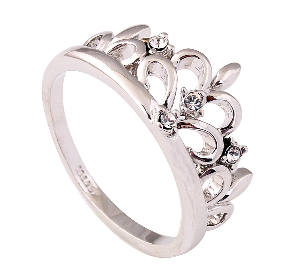 Acefeel White Gold Plated Inlaid Crystal Crown Wedding Engagement Ring Gift for Goddess R218