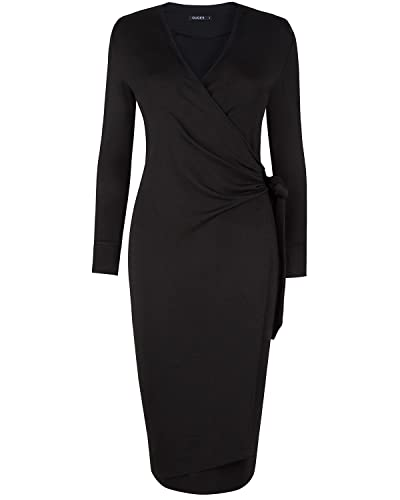 OUGES Womens V Neck Vintage Office Work Business Party Bodycon Pencil Wrap Dress