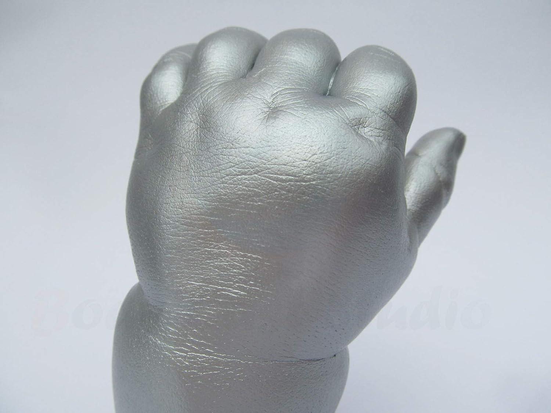 impresi/ón de pie para reci/én nacido Kit de moldeo 3D para beb/é Budget 100/% producido y empaquetado en Reino Unido Dorado met/álico