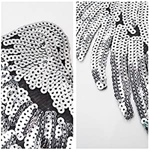 LoveInUSA 1 Pair Silver Sequins Angel Wings Iron On Patch DIY Embroidered Applique Bling Wings for Jackets Cloth Decoration Valentine's Day Gifts (Sequin Eye for Free)