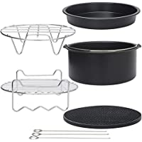 Air Fryer Accessories for Cosori Ninja and Philips, Set of 5/9, Fit all 3.7QT - 5.3QT - 5.8QT,Non-stick Barrel/Pan + Metal Holder + Multi-Purpose Rack with Skewers and Silicone Mat (SET OF 5)